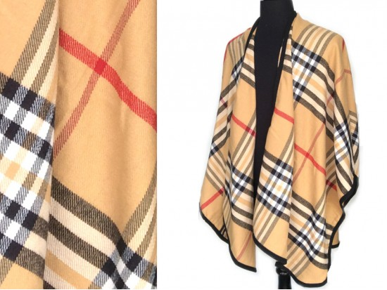 Brown Plaid Ruana Poncho