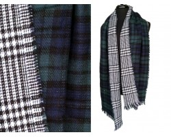 Navy Green Plaid Fringe Oblong Scarf