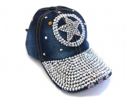 Silver Crystal Western Star Dark Denim Ball Cap