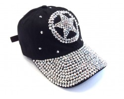 Silver Crystal Western Star Black Ball Cap
