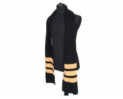 Black Gold End Stripes Knit Oblong Scarf