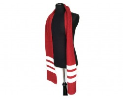 Maroon White End Stripes Knit Oblong Scarf