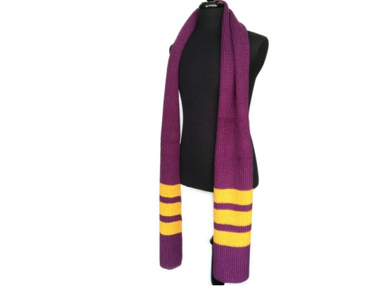 Purple Gold End Stripes Knit Oblong Scarf