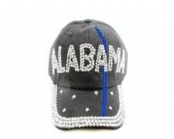 Blue Line Alabama Crystal Black Ball Cap