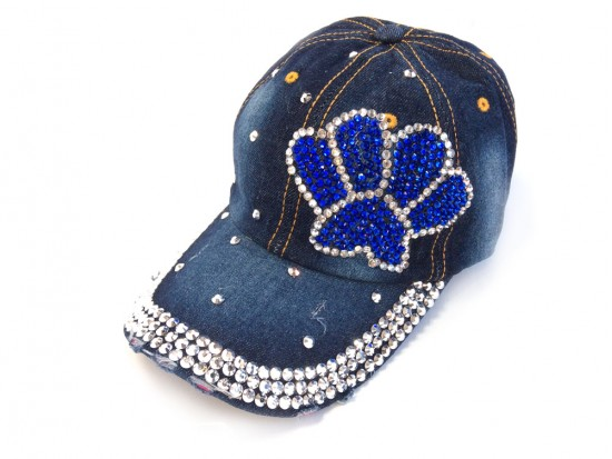 Blue Silver Paw Print Denim Ball Cap