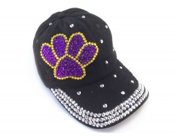 Purple Yellow Silver Paw Print Black Ball Cap