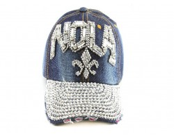 NOLA Fleur De Lis Crystal Dark Blue Denim Ball Cap