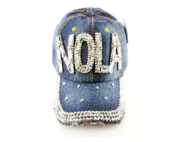 NOLA Baguette Crystal Dark Blue Denim Ball Cap