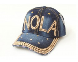 NOLA Gold Crystal Dark Blue Denim Ball Cap