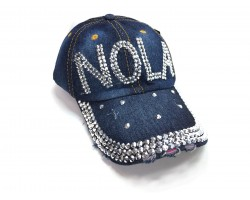 NOLA Crystal Dark Blue Denim Ball Cap