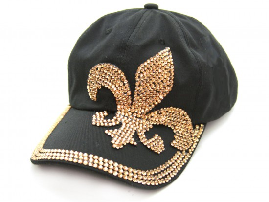 Black Gold Crystal Fleur De Lis Denim Ball Cap