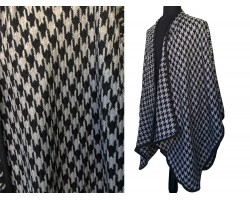 Black Gray Houndstooth Weave Poncho