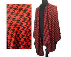 Black Red Houndstooth Weave Poncho
