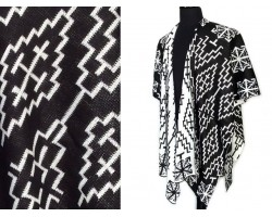 Black White Geometric Woven Long Reversible Poncho