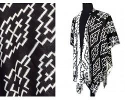 Black White Geometric Woven Long Reversible Poncho