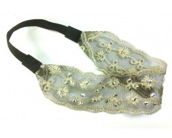 Beige Black Lacy Large Flower Crystal Stretch Headband