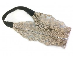 Beige Lacy Fern Pattern Crystal Stretch Headband