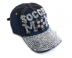 Blue Denim Crystal Soccer Mom Baseball Cap