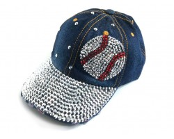 Blue Denim Baseball Silver Crystal Baseball Cap