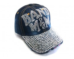 Blue Denim Crystal BAND MOM Baseball Cap