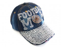 Blue Denim FOOTBALL MOM Baseball Hat Cap