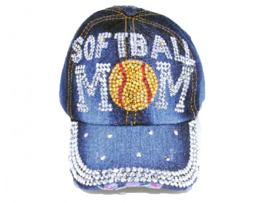 Blue Denim Softball MOM Baseball Hat Cap