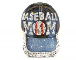 Blue Denim Crystal BASEBALL MOM Baseball Cap