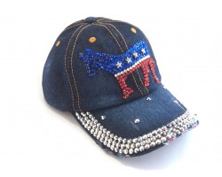 Blue Denim Red White Blue DONKEY Baseball Cap