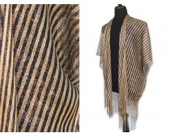 Black Gold Stripe Shimmer Fringe Cardigan
