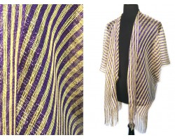 Purple Yellow Stripe Shimmer Fringe Cardigan