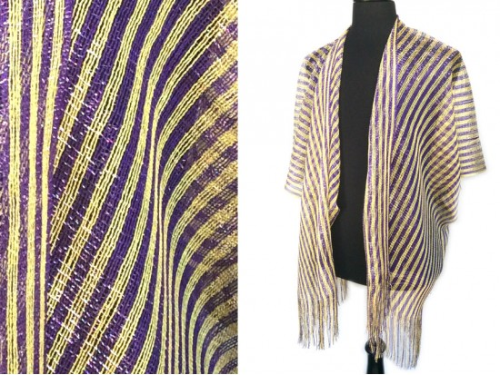 Purple Yellow Stripe Shimmer Fringe Cardigan