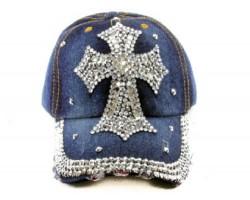 Cross Crystal Dark Blue Denim Ball Cap