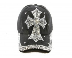 Cross Crystal Black Ball Cap