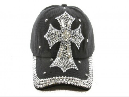 Cross Crystal Black Ball Cap