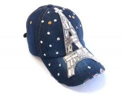 Eiffel Tower Crystal Dark Blue Denim Ball Cap
