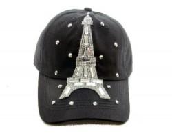 Eiffel Tower Crystal Black Ball Cap