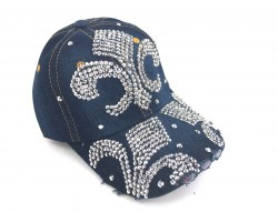 Fleur De Lis Crystal Dark Blue Denim Ball Cap
