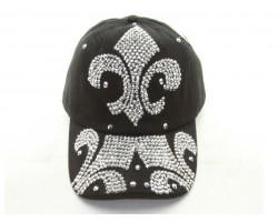 Fleur De Lis Crystal Black Ball Cap
