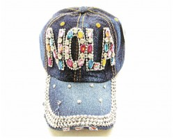 Multi NOLA Baguette Crystal Denim Ball Cap