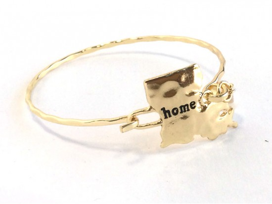 Gold Louisiana State Home Bangle