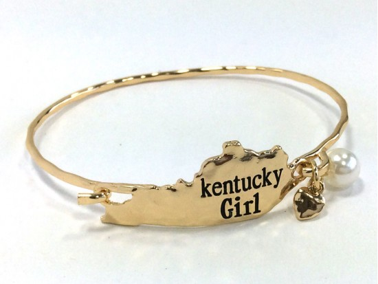 Gold Kentucky Girl State Map Bangle