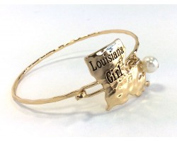 Gold Louisiana Girl State Map Bangle