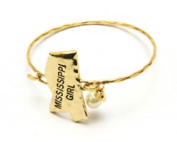 Gold Mississippi Girl State Map Bangle
