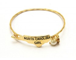 Gold North Carolina Girl State Map Bangle