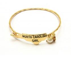 Gold North Carolina Girl State Map Bangle