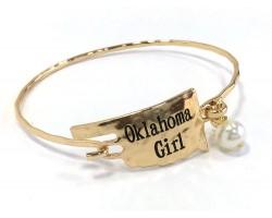 Gold Oklahoma Girl State Map Bangle