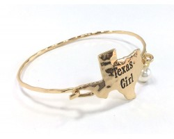 Gold Texas Girl State Map Bangle