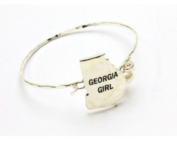 Silver Georgia Girl State Map Bangle