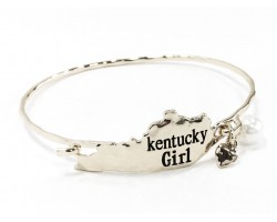 Silver Kentucky Girl State Map Bangle
