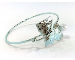 Silver Louisiana Girl State Map Bangle